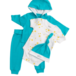 Deanie Organic Baby Teal Outfit (4 Pieces)