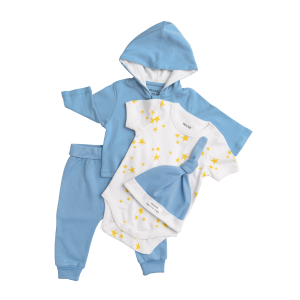 Deanie Organic Baby - Light Blue Outfit (4 Pieces)