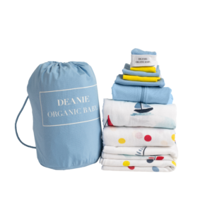 Sailing Boats on Watercolor Lake Medium Layette - Light Blue